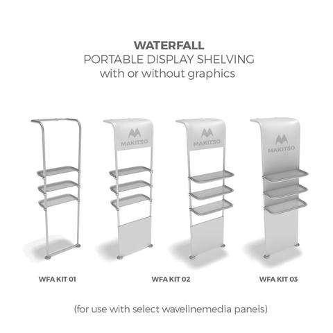 fabric tube displays shelves